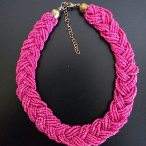 Hot Pink beaded collar necklace